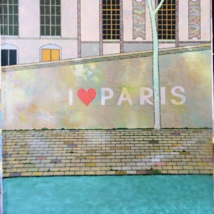 «I love Paris», Доминов Рашид, Картон, акрил, 85 х 60 см